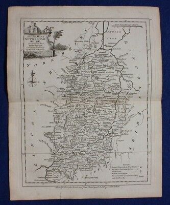 Original antique county map NOTTINGHAMSHIRE, J.Ellis, c.1765