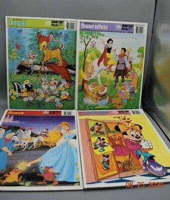 4 Vtg Walt DisneyFrame-Tray Jigsaw Puzzle, bambi, snow white, cinderella, minnie
