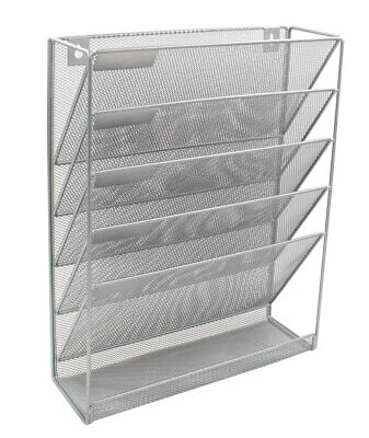 Wall Hanging File Organizer Wall Mounte Paper Organizer 6 Compartmentssilver
