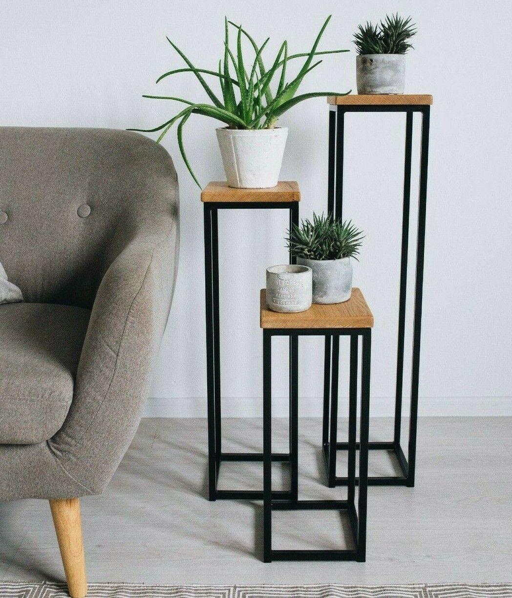BestLoft Blumensäule Standregal Regal Ablage 50 70 90 cm schwarz weiß Eiche Holz