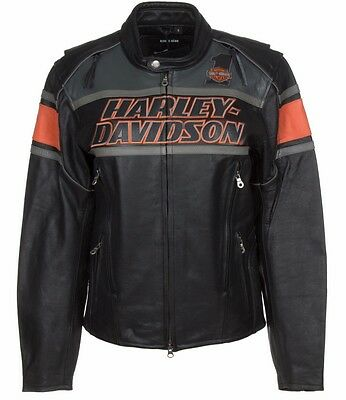 Harley Davidson 98056-13VM Men's Rumble Colorblocked Leather Jacket Size S Small