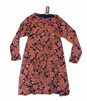 Boohoo Women's Plus Bella Long Sleeve Swing Dress AB4 Navy Size UK:16 US:12 NWT