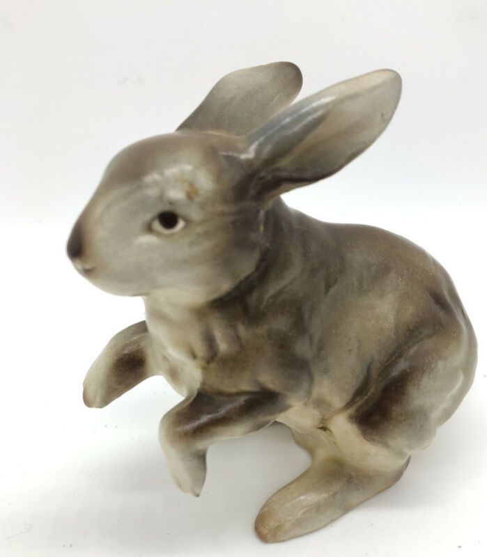 "Vintage Rabbit Easter Bunny Porcelain Figurine Brown 4.5x4"" Hand painted Garden"