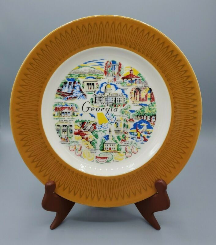 "Vintage mid-century Souvenir Plate Georgia capitol gold border 10"" victory drive"