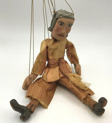 "Antique 9 string 12"" wooden puppet marionette hand carved (Total 28"")"