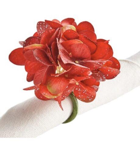 Set of  NWT Pier 1 RED HYDRANGEA Flower Napkin Rings VALENTI
