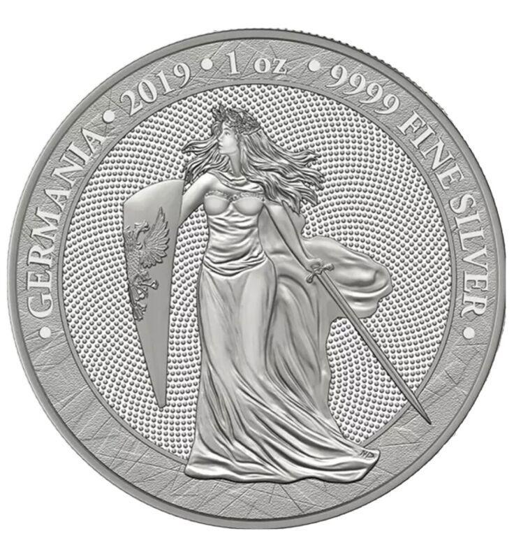 2019 Germania 5 Mark 1 Oz Silver Medal 1st in Series 25K mintage Spotless in Cap