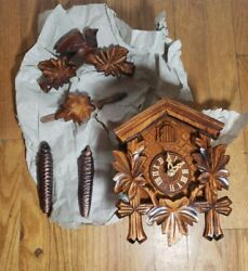 River City Clocks One Day Hand-Carved Cuckoo Clock -- Maple Leaves and Bird