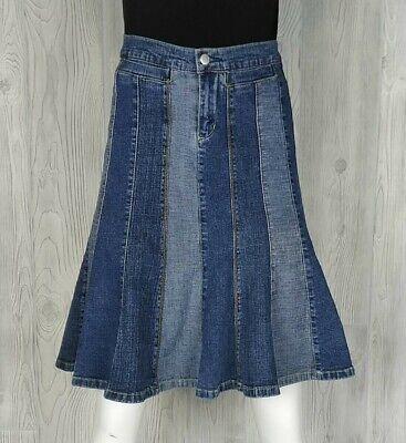 PeeCee Jeans Womens Denim Skirt Size 5/6 Stretch Boho Distressed Panels Flared Paneled Denim Skirt