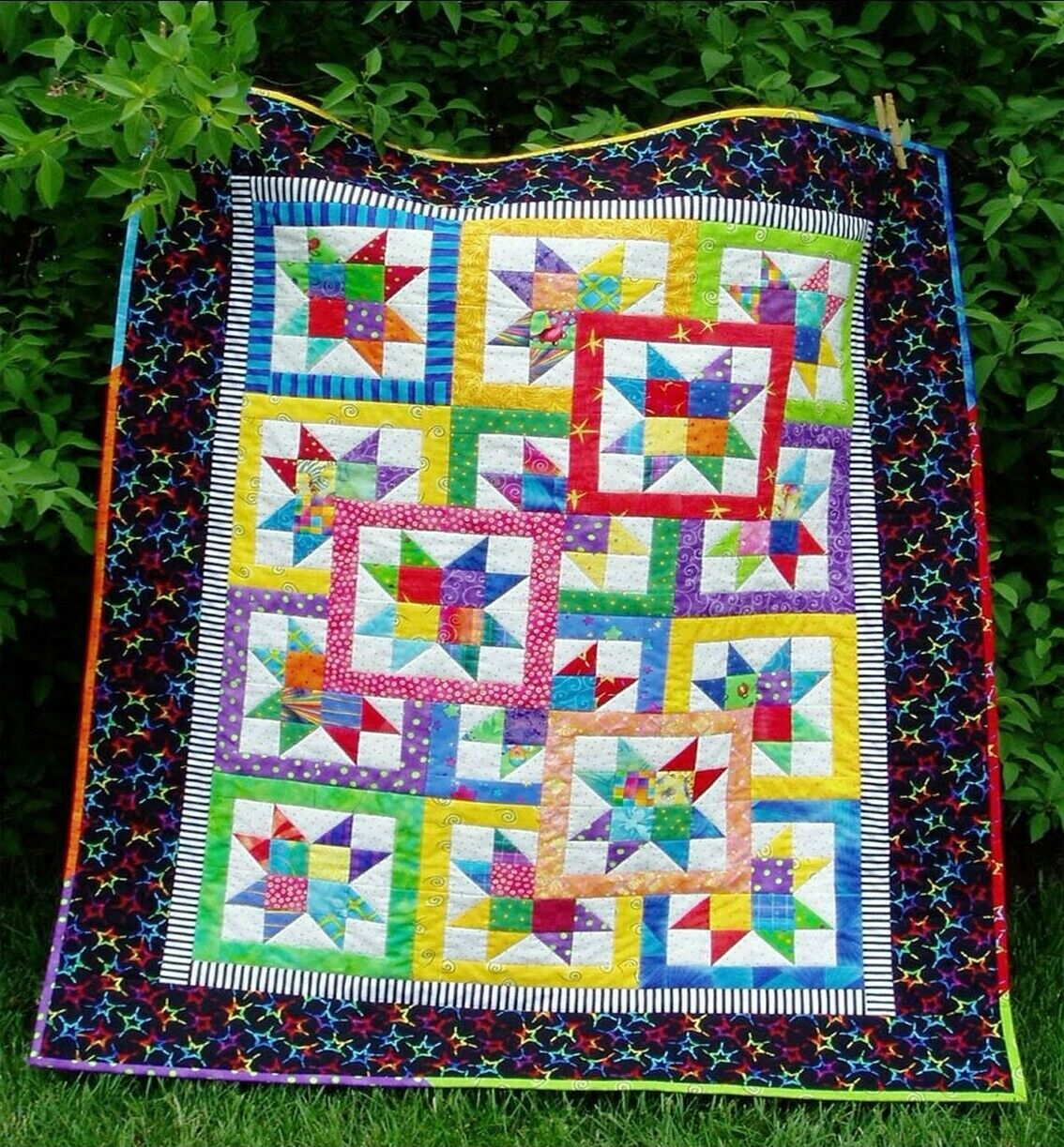 Layered Stars CribTwin Quilt Pattern NEW Scrappy Baby Easy 407