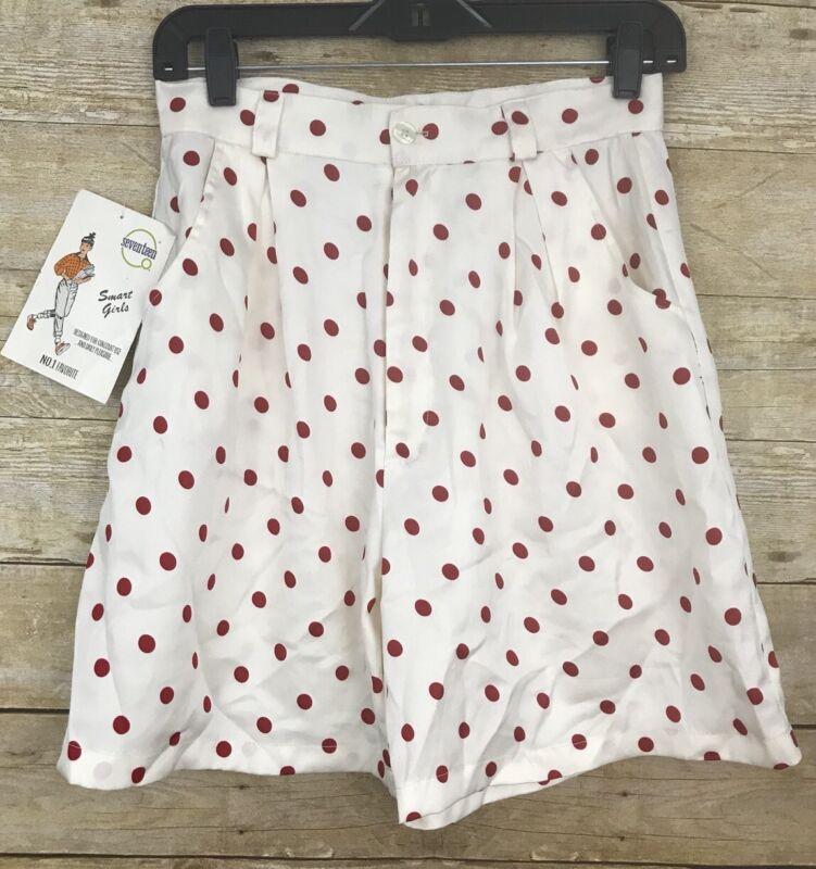 Vintage Girls Seventeen Cinderella Brand Polka Dot Shorts Red Size Medium NWT