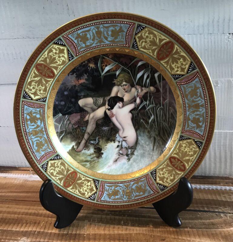 """Antique Art Nouveau Royal Vienna """"Fischer & Nixe"""" Hand-painted Portrait Plate"""