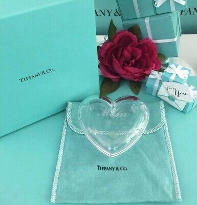 """Tiffany Co. Herz Schmuckstück Box Kristall Eingeschrieben"""" Mom """" mit Tasche Dose"""