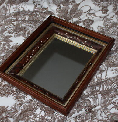 Antique -Eastlake Aesthetic Carved Victorian Complex Carved Burl Frame Mirror