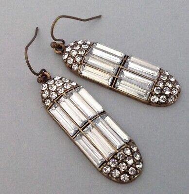 1920s Art Deco Jewelry: Earrings, Necklaces, Brooch, Bracelets Empire Earrings Art Deco Revival Jazz Age Rhinestone Drops Vintage Jewelry $20.00 AT vintagedancer.com