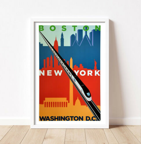 "Amtrak - Michael Schwab Boston-New-York-DC Acela Poster - Orig- New - 24 x 36"""