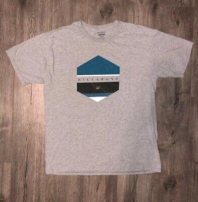 Mens Billabong Short Sleeve T shirt Gray Size Large Blue Logo
