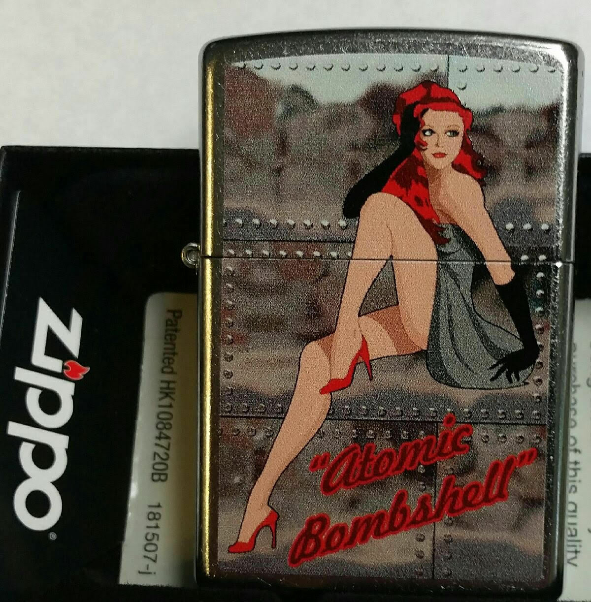 Zippo Lighter Girl Pin Up Atomic Bombshell Redhead New In Bo