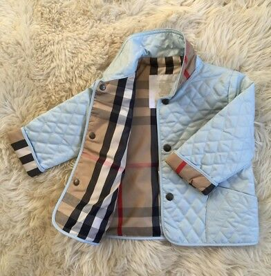 NEW AUTHENTIC BURBERRY PORCELAIN BLUE KIDS INFANT BABY BOY GIRL COAT JACKET 9M