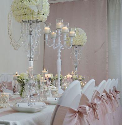 candelabro candeliere bianco con 5x ALZATA IN VETRO 90cm per wedding, Evento