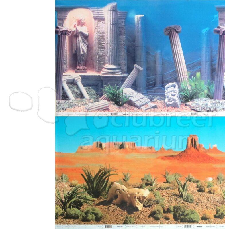 """Underwater Atlantis Ruins/Desert 2 Scene 18""""-20""""H Aquarium/Reptile Background"""