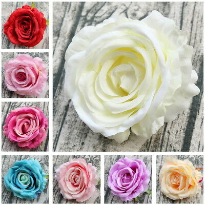 10 Silk Rose Heads Large Flowers For Wedding Cake Topper Bridal Bouquet Flowers