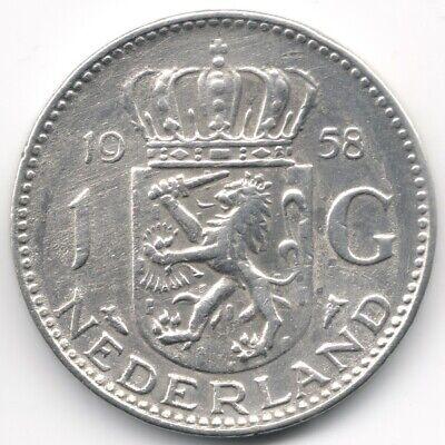 Netherlands : 1 Gulden 1958 Silver