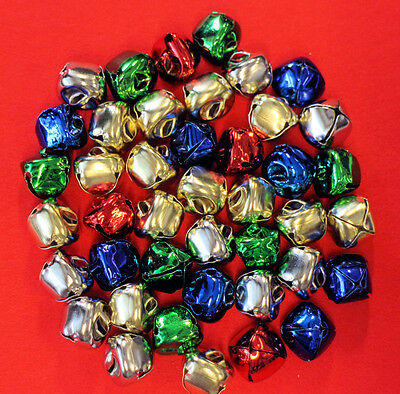 Jingle Bells Christmas 15mm Coloured Mixed Pack 40 Musical Festive Decoration
