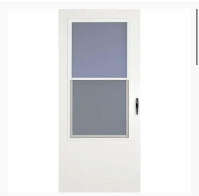 USED-LARSON Bismarck 34-in x 81-in White Mid-View Storm Door