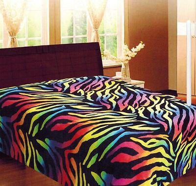 Rainbow Zebra Soft Fleece Blanket Queen Full Animal Print Microfiber Throw - Rainbow Animal Print