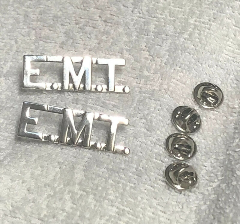 """E.M.T. Silver 1/2"""" Letters Collar Pins Insignia EMT Emergency Medical Technician"""