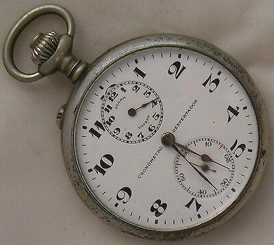 Angelus Alarm Pocket Watch open face nickel case 50 mm. enamel dial running
