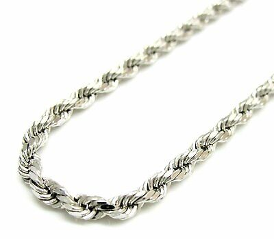 Sterling Silver Italian Diamond Rope - Solid 925 Sterling Silver Italian Rope Chain Mens Necklace 4mm - Diamond Cut