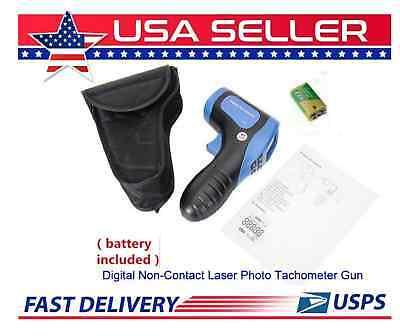 Digital Non-contact Laser Photo Tachometer Gun Rpm Tach Tester Meter Wbatteries