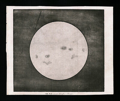 1809 Astronomy Print of the Sun through a Telescope Sunspots Solar Flares