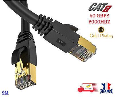 Câble Réseau d'Ethernet Rj45 Cat8 LAN 40Gbps 2000Mhz 26AWG 2m