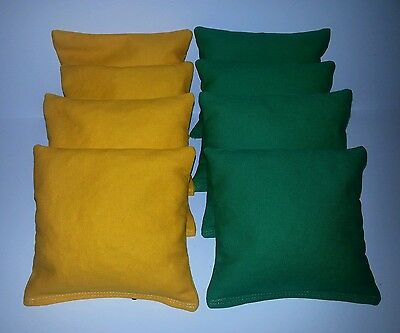 SET OF 8 ALL WEATHER YELLOW & GRASS GREEN JOHN DEERE CORNHOLE BAGS FREE SHIPPING