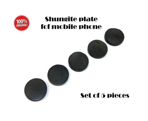 5 x Shungite Mobile cell phone sticker ROUND 19 mm EMF protection POLISHED