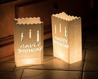 10 Lichttüten Happy Birthday Party Geburtstag Deko Kerzentüten Teelichter
