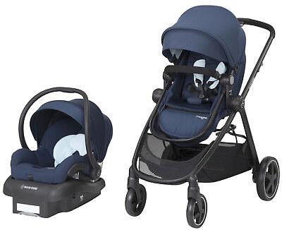 Maxi Cosi Zelia Travel System Stroller w Mico 30 Infant Car Seat Aventurine Blue