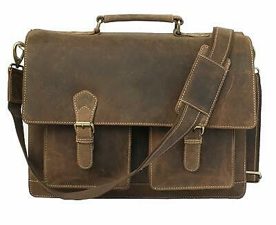 Kattee Men's Crazy Horse Leather Briefcase Messenger Laptop Handbag