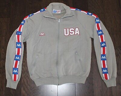 KAPPA Official USA TRACK & FIELD vtg 80s Jacket Men's Small S United States Gray