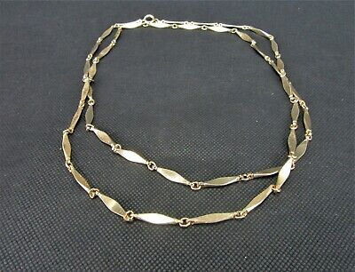 Vintage Costume Jewelry, Gold Tone, Flat Link Chain, Modern Necklace Nk266