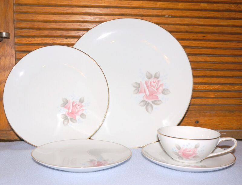 Noritake Roseville China gold rim--PINK Rose   77 pc Set   15% Women's Cancer