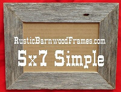 5x7 Flat style weathered rustic barnwood barn wood picture photo frame weathered