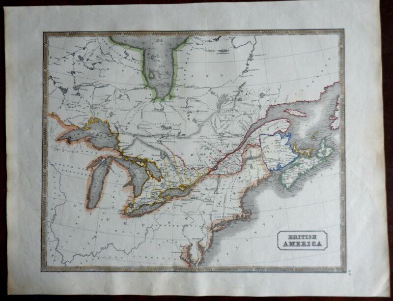 British America Canada Great Lakes New Brunswick Nova Scotia 1846 scarce map