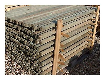 15 1.65m tall x 50mm round treated pointed wooden fence fencing posts wood