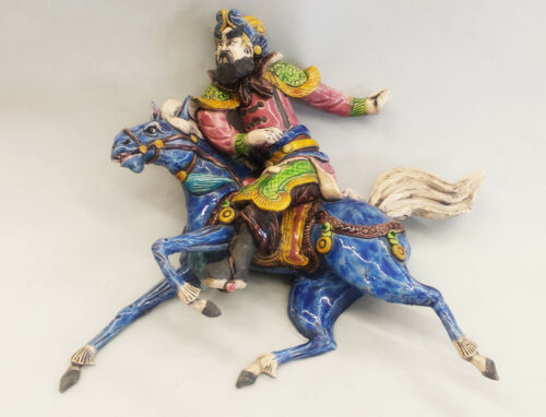 Chinese Horse Warrior Ceramic Roof Ornament 19th c.1