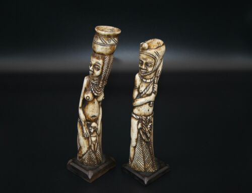 Antique African Hand Carved Bone Figurines - Tribal Art