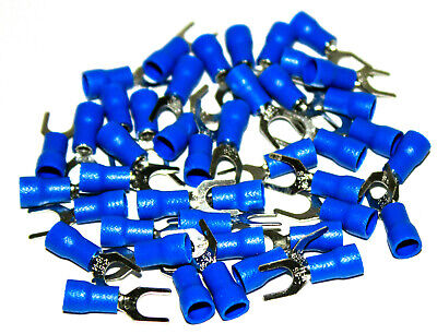 100pcs 16-14 Gauge Spade Fork Terminal Blue 10 Stud Insulated Wire Crimp Sv2-5